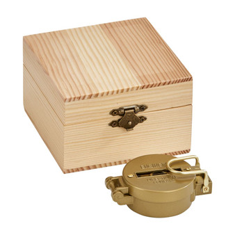 """Personalized Quality Compass With 4"""" x 4"""" Natural Wood Box"""
