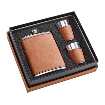 Personalized Quality 8 oz. Leatherette Flask Gift Set