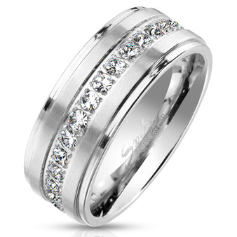 Personalized Stepped Edge Brushed Finish Stainless Steel Eternity Ring