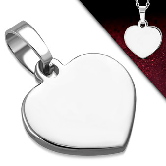 Personalized Stainless Steel Small Heart Charm Pendant With Chain