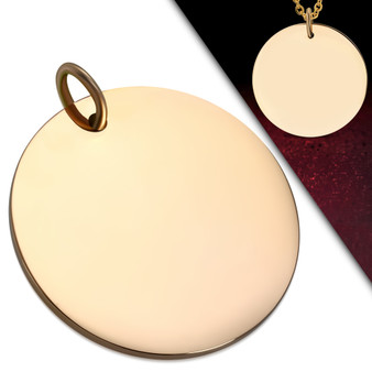 Personalized 20mm Stainless Steel Rose Gold Color Round Pendant with Chain