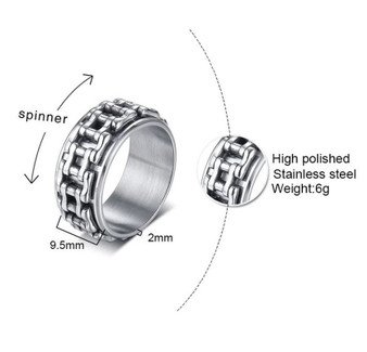Personalized Stainless Steel Spinner Biker Chain Band Ring