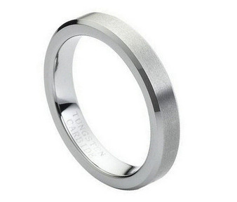 Tungsten Carbide Flat Brushed Center High Polish Beveled Edge 4mm