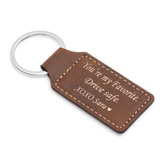 Personalized Rustic/Gold Leatherette Rectangle Keychain- Free Engraving
