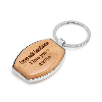 Personalized Quality Wood and Metal Keychain- Free engraving
