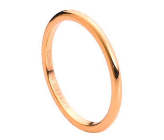 Tungsten Carbide High Polish Rose Gold Plated Thin Band 2mm