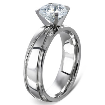 Personalized Stainless Steel Prong-Set Round Grooved Shank Solitaire  Band Ring W/ Clear CZ