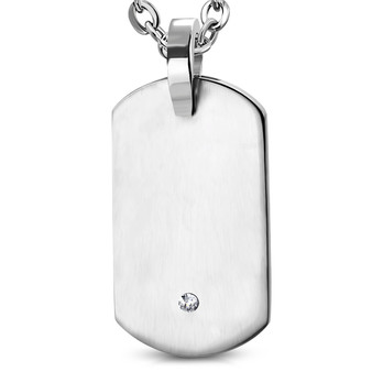 Personalized Stainless Steel Tag Charm Pendant with Clear CZ- Free Engraving