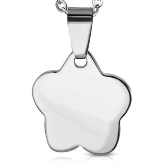 Personalized Stainless Steel Flower Charm Pendant With Chain