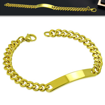 8mm Gold Color Plated Stainless Steel Curb Cuban Link ID Bracelet- Free Engraving