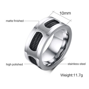 Personalized Quality Stainless Steel Cable Wire Inlay Ring