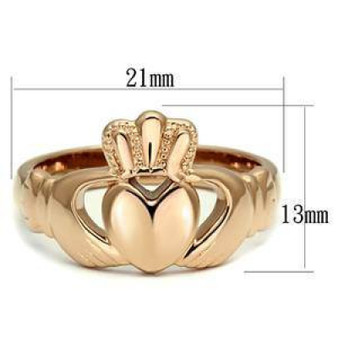 Personalized  Rose Gold Color  Stainless Steel Claddagh Ring - Free Engraving