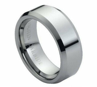 Tungsten Carbide Ring High Polish &; Beveled Edge 8mm