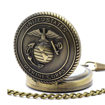 Personalized Quartz Movement US Marine Badge Antique Pocket Watch