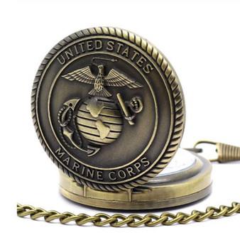 Personalized Quartz Movement US Marine Badge Antique Pocket Watch