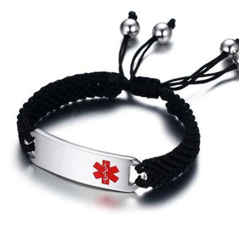 Personalized Stainless Steel Medical ID Bracelet With Black Rope Strap
