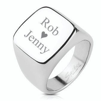 Personalized Black Stainless Steel  Square Signet Ring