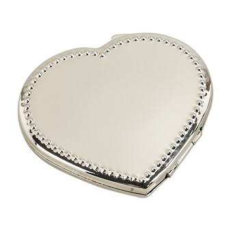 Personalized Beaded Heart Compact Mirror - Free Engraving