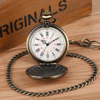 Vintage Bronze To My Son Quartz Roman Numeral Pocket Watch