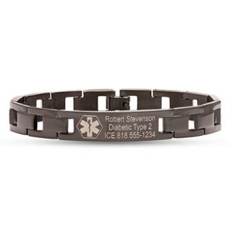 Personalized Quality Black Stainless Steel Medical ID Bracelet