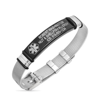 Personalized Quality Mesh Medical ID Bracelet With Black Stainless Steel Plate