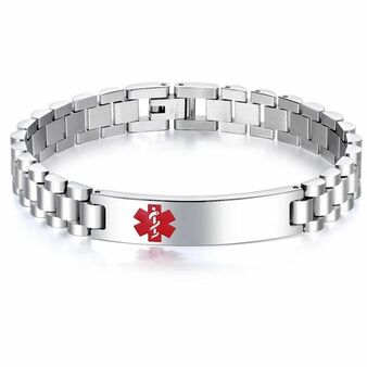 Personalized Quality Stainless Steel Medical ID Bracelet -Free Engraving
