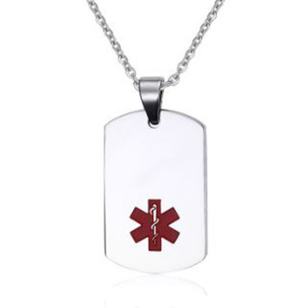 Quality Stainless Steel Medical ID Dog Tag Pendant With Chain