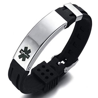 Personalized Black Stainless Steel With Black Rubber Medical ID Bracelet