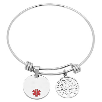 Personalized Quality Stainless Steel Medical ID Bangle With Round Charm Bracelet