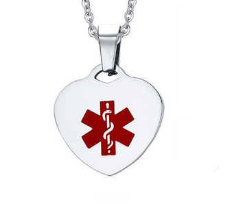 Personalized Stainless Steel Medical Alert ID Heart Pendant