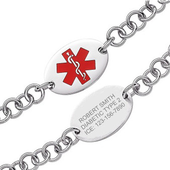 Quality Stainless Steel Oval Medical ID Bracelet- Free Engraving