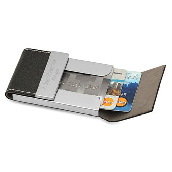 Personalized Quality Leatherette Magnetic Card Holder