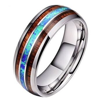 Quality Personalized 8mm Wood Inlay Stainless Steel Ring