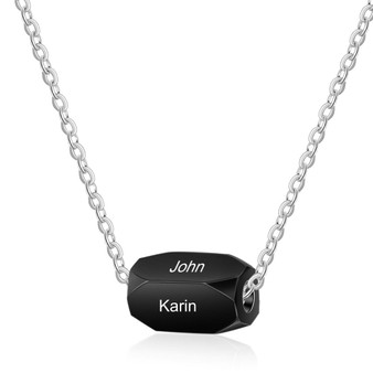 Personalized Stainless Steel Name Necklace Strip Pendant