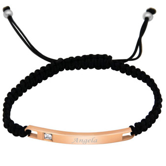 Personalized Stainless Steel Rose Gold Plated ID Bracelet with Black Rope Band