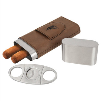 Personalized Leatherette Cigar Case with Cutter 7 Colors