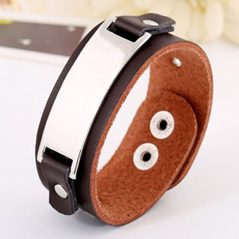 Personalized Genuine Brown Leather ID Bracelet