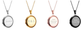 Personalized Stainless Steel Circle Photo Locket Pendants Necklace
