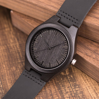 Personalized To Son Black Bamboo Wood Watch with Genuine Black Leather
