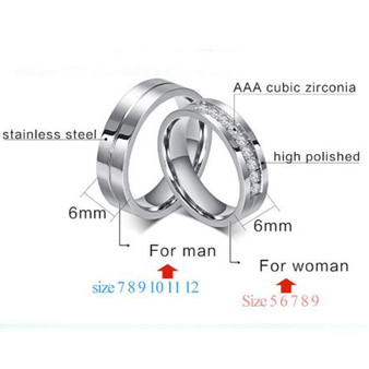 Quality Personalized Stainless Steel His & Hers Ring Set with Clear CZ