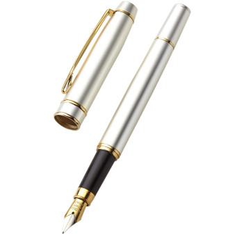 Personalized Pearl White with Gold Trim Brass Fountain Pen- Free Engraving