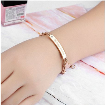 "Personalized Stainless Steel ""Be happy together"" Rose Gold Plated ID Bracelet"