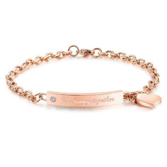 """Personalized Stainless Steel """"Be happy together"""" Rose Gold Plated ID Bracelet"""
