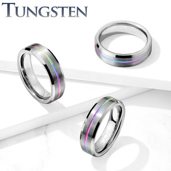 Personalized 6mm Brushed Finish Rainbow Groove Beveled Edges Tungsten Carbide Ring