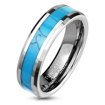 Personalized 6mm Turquoise Inlay Center Beveled Edges Tungsten Carbide Ring