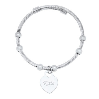 Personalized Stainless Steel Heart charm Cuff Bracelet