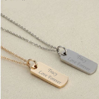 Personalized Stainless Steel Small Vertical Name Pendant