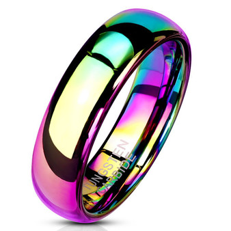 Personalized 6mm Rainbow Color Tungsten Carbide Ring