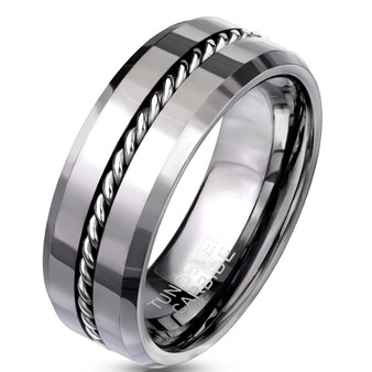 Personalized 8mm Wire Center Beveled Edges Tungsten Carbide Ring