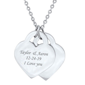 Quality Stainless Steel Double Heart Pendant Necklace